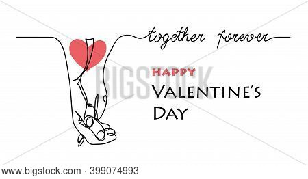 Couple Hold Hands. Together Forever Lettering. Line Art And Red Heart Tatoo For Two. Valentines Day