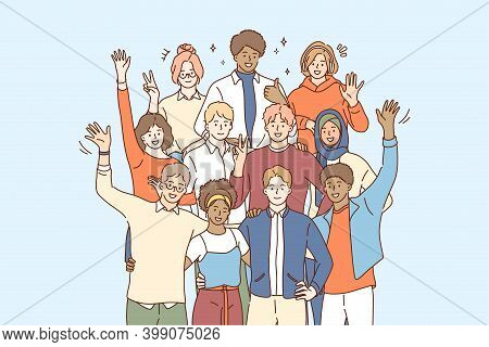 Unity In Multicultural Diversity, Team And Friendship Concept. People Of Different Nationalities And