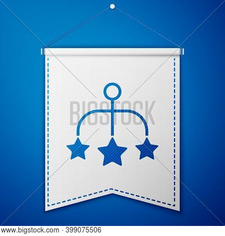 Blue Baby Crib Hanging Toys Icon Isolated On Blue Background. Baby Bed Carousel. White Pennant Templ