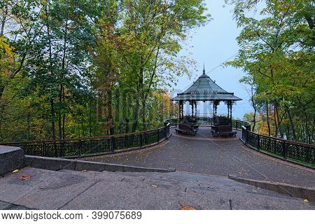 Astonishing Landscape Of Panoramic Viewing Platform With Beautiful Arbor In Autumn Tree Leaves Borde