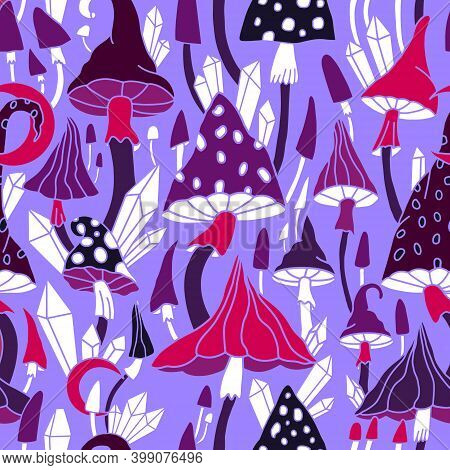 Amanita, Crystals And Moon Print On A Lilac Background. Bright, Hallucinogenic, Decorative, Fantasti