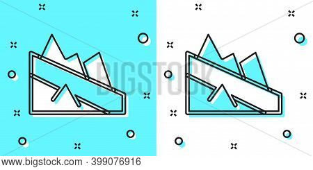 Black Line Mountain Descent Icon Isolated On Green And White Background. Symbol Of Victory Or Succes