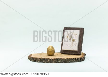 Trendy Easter Lowpoly Decor For Design. Botanical Bas-relief Pine Branch With Cone On Wooden Platfor