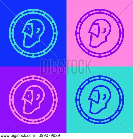 Pop Art Line Ancient Coin Icon Isolated On Color Background. Vector