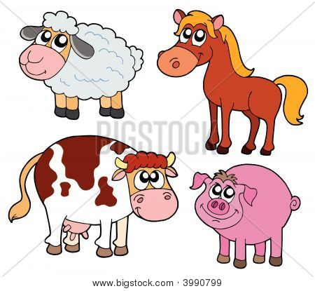 Farm animals collection four animals - vector illustration. poster