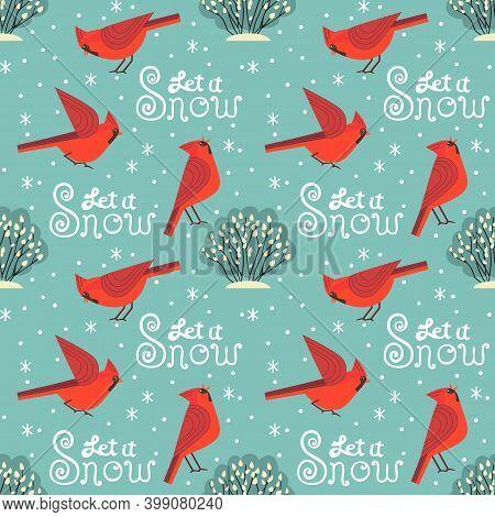 Red Northern Cardinal Birds Vector Seamless Pattern. Cartoon Cute Minimal Style. Winter Bird Of City