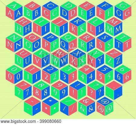 Baby Toy Building Blocks. Vector Alphabet Blocks. Kids Alphabet And Numbers Block Set. 3 D Isometric