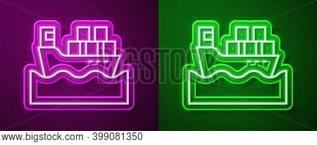 Glowing Neon Line Cargo Ship With Boxes Delivery Service Icon Isolated On Purple And Green Backgroun