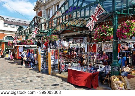 London, Uk - July 6, 2016: People Visit Covent Garden In London, Uk. London Is The Most Populous Cit
