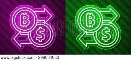 Glowing Neon Line Cryptocurrency Exchange Icon Isolated On Purple And Green Background. Bitcoin To D