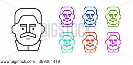 Black Line Portrait Of Joseph Stalin Icon Isolated On White Background. Set Icons Colorful. Vector