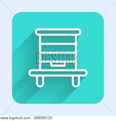 White Line Hive For Bees Icon Isolated With Long Shadow. Beehive Symbol. Apiary And Beekeeping. Swee
