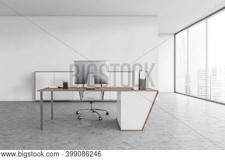 White Light Office With One Chair And Table With Computer, On Marble Floor With White Walls. Busines