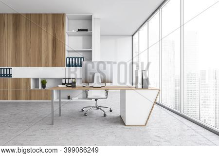 White Light Office With Shelf, Chair And Table With Computer, On Marble Floor Near Window. Business