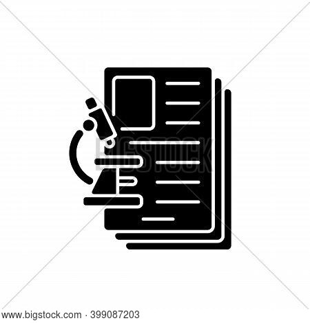 Diagnostic Test Black Glyph Icon. Examining, Assessing And Diagnosing Illnesses, Conditions In Patie