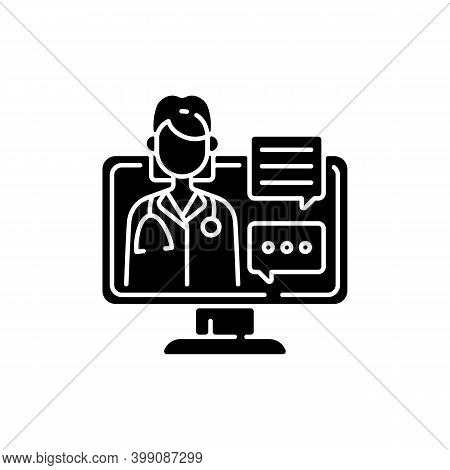 Chat Consultation Black Glyph Icon. Personalized Care For Urgent And On-going Medical Conditions. Me