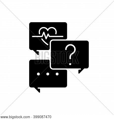 Free Question To Specialist Black Glyph Icon. Health And Medical-related Questions. Live Chat With D