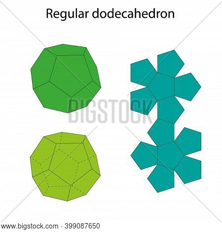 Dodecahedron With Net. Regular Polyhedron. Vector Illustration.