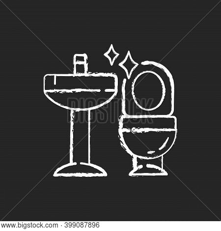 Cleaning Bathroom Chalk White Icon On Black Background. Housekeeping. Professional Janitorial Servic