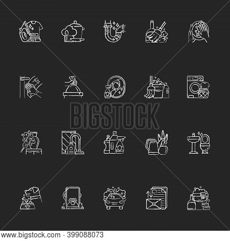 Housekeeping Chalk White Icons Set On Black Background. Keeping Home Clean And Neat. Different House