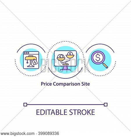 Price Comparison Site Concept Icon. Website For Cost Analysis. Service For Financial Research. Smart