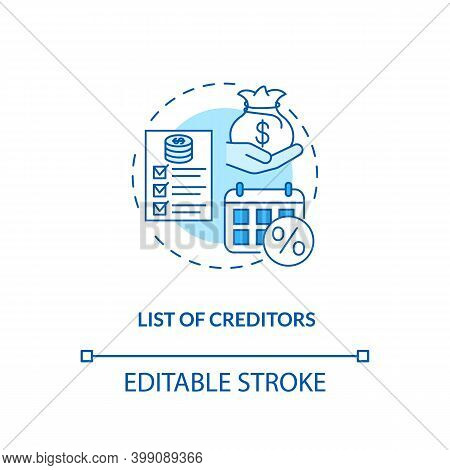 List Of Creditors Blue Concept Icon. Financial Report. Debtor Document With Information. Bankruptcy