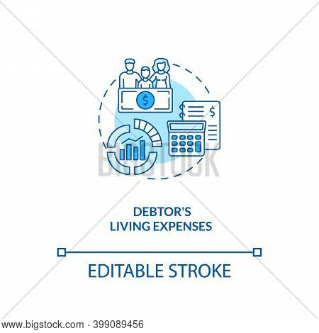 Debtor Living Expenses Blue Concept Icon. Financial Crisis. Calculate Income And Expenditure. Bankru