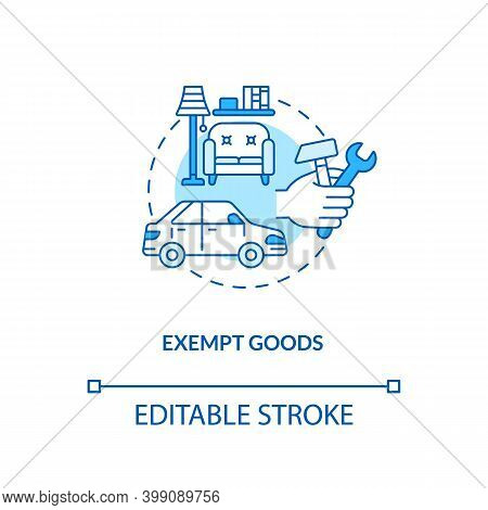 Exempt Goods Blue Concept Icon. Duty Free Supply. No Vat Charge For Product. Low Cost. Save Money. B