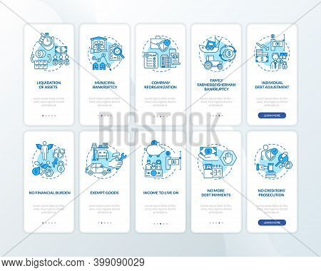 Bankruptcy Blue Onboarding Mobile App Page Screen With Concepts. Debtor Income. Financial Burden Wal