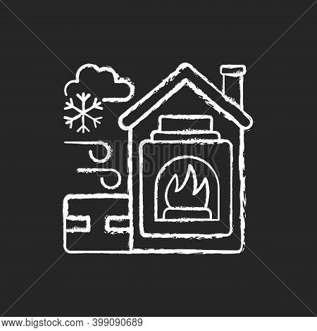 Warming Center Chalk White Icon On Black Background. Short Term Emergency Shelter That Operates When