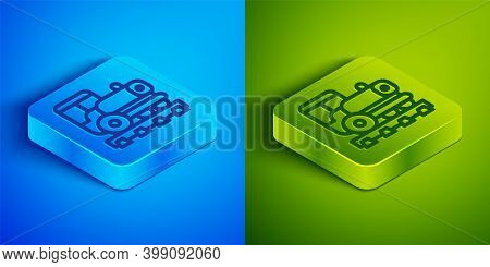 Isometric Line Vintage Locomotive Icon Isolated On Blue And Green Background. Steam Locomotive. Squa