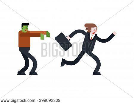 Zombie Is Chasing Man. Zombi Running After Guy. Green Walking Dead Haunts Man. Vector Illustration