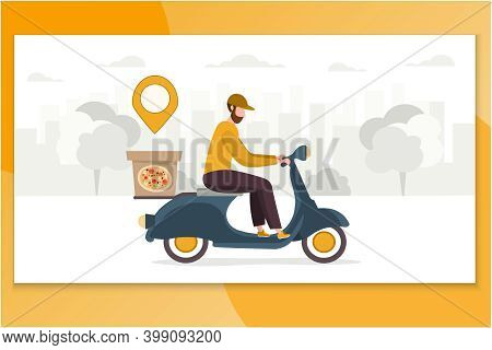 Courier Delivering. Vector Cartoon Pizza Boy On Blue Motor Bike. Fast Food Deliver Concept