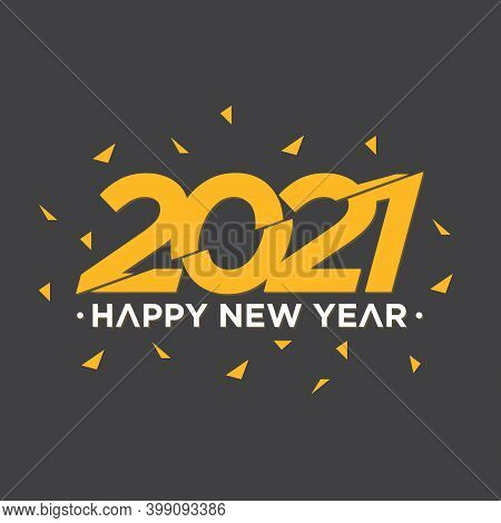 Happy New Year 2021 Slice Style On Grey Background. Happy New Year 2021 Vector Background Illustrati