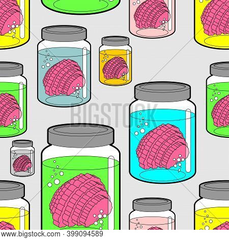 Brain In Glass Jar Pattern Seamless. Brainss In Glassy Liter Jar Background. Vector Illustration
