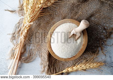 Dried Healthy Semolina Cereal In A Bowl