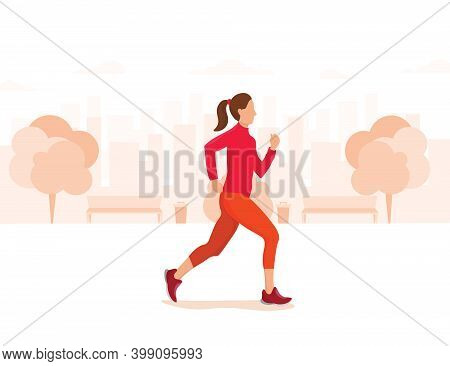Healthy Lifestyle, Outdoor Physical Activity And Fitness In A Modern Metropolis .vector Illustration