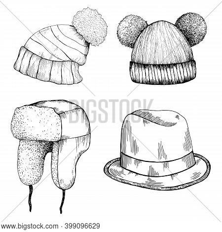 Headwear Doodle Cartoon Style. Set Of Different Hat With Pom Pom, Hat With Ear Flaps, Funny Hat With