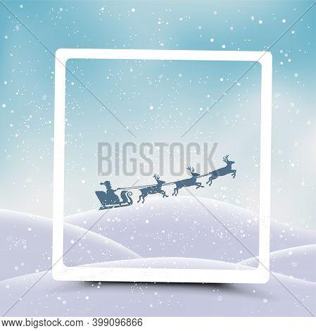 Christmas Frame And Santa Flies From Snowdrift