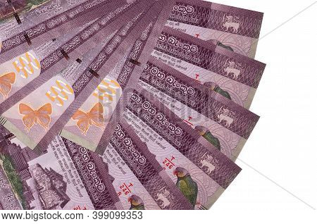 500 Sri Lankan Rupees Bills Lies Isolated On White Background With Copy Space Stacked In Fan Shape C