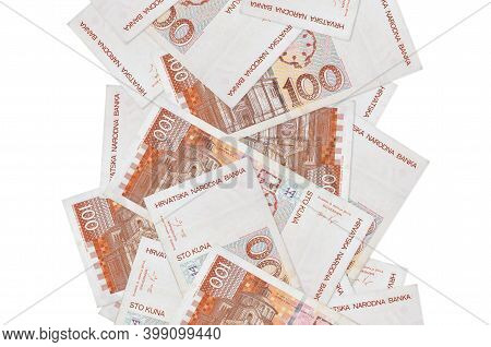 100 Croatian Kuna Bills Flying Down Isolated On White. Many Banknotes Falling With White Copyspace O