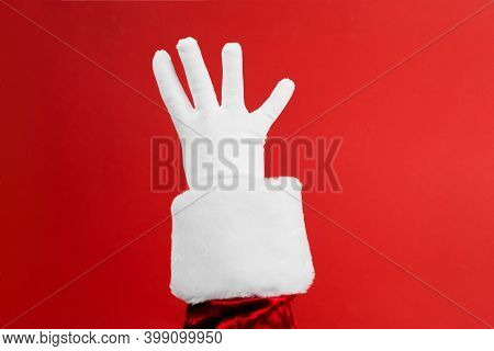 Hands Fingers Education Counting Set. Santa Hand In White Glove Gesturing One To Five On Red Backgro