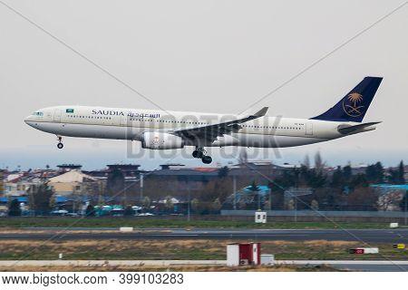 Istanbul / Turkey - March 27, 2019: Saudia Airbus A330-300 Hz-aq14 Passenger Plane Landing At Istanb