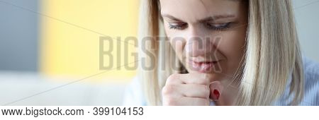 Portrait Of Woman Who Is Coughing. Respiratory Tract Disease Concept