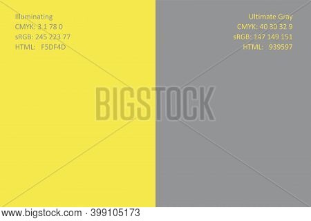 Color Of The Year 2021 Illuminating 13-0647 And Ultimate Gray 17-5104. Minimalist Pattern. Tools For