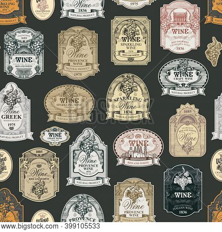 Seamless Pattern With Ornate Hand-drawn Wine Labels On A Dark Background In Vintage Style. Repeating