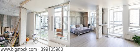 Unfinished Building Interior White Room Repairs In The Apartment Preparing In The Roomrenovation Con