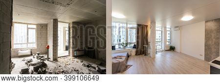 Renovation Concept -kitchen Room Before And After Refurbishment Or Restoration