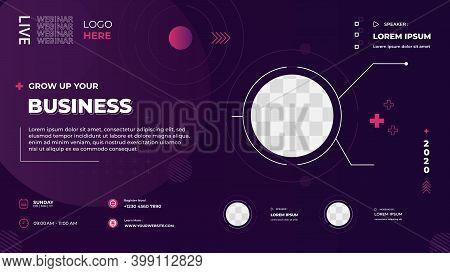 Dark Purple Technology Background. Suitable For Web Banner, Business Webinar, Marketing Webinar, Onl