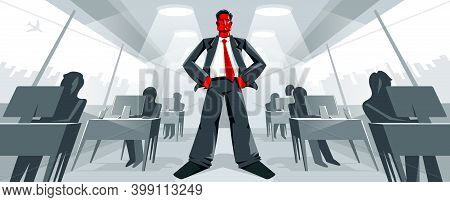 Big Boss Director Stands In Center Of Office With Employees Confident Serious And Angry Vector Illus